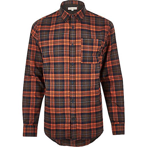 Orange casual check shirt