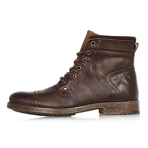 Brown leather work boots