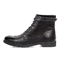 Grey leather work boots