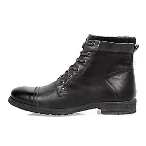 Grey leather worker boots