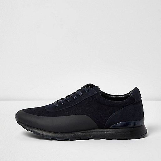 Navy panel lace-up trainers