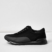 Black panel lace-up trainers