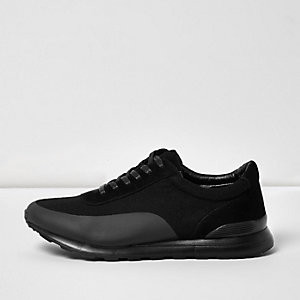 Black panel lace-up sneakers