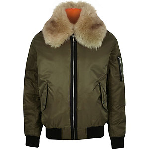 Green faux fur collar aviator jacket