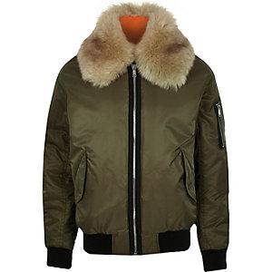 Green faux fur collar aviator jacket