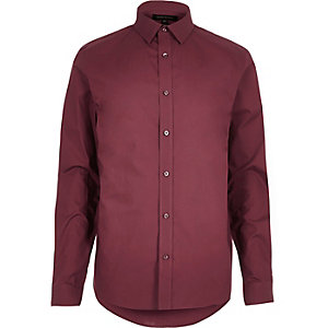 Red formal slim fit cotton shirt