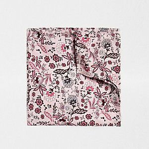 Pink floral print pocket square