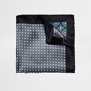 Grey multi design pocket square