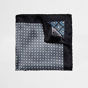 Grey multi design pocket square