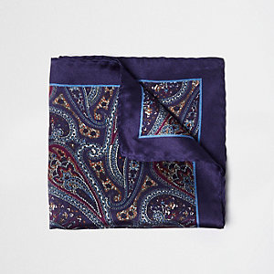 Purple paisley print pocket square