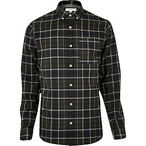 Green checked flannel shirt