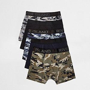 Dunkelgrüne Hipster-Slips mit Camouflage-Muster, Multipack