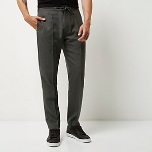 Grey slim fit tailored joggers