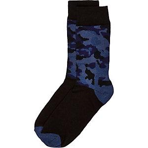 Dark blue camouflage print socks