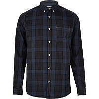 Navy checked Oxford shirt
