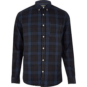 Navy checked Oxford shirt