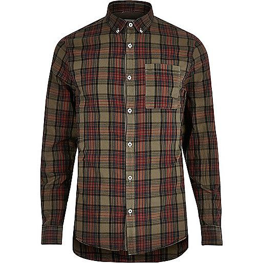 Green plaid Oxford shirt