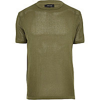 Green slim fit crew neck T-shirt