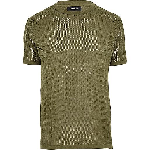 Green slim fit crew neck T-shirt