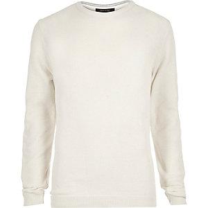 Ecru textured slim fit sweater