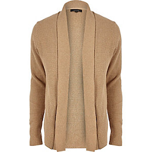 Light brown textured knitted cardigan