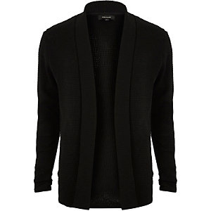 Black textured knitted cardigan