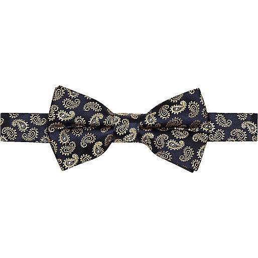 Navy and gold paisley print silk bow tie