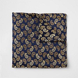 Navy and gold paisley print pocket square