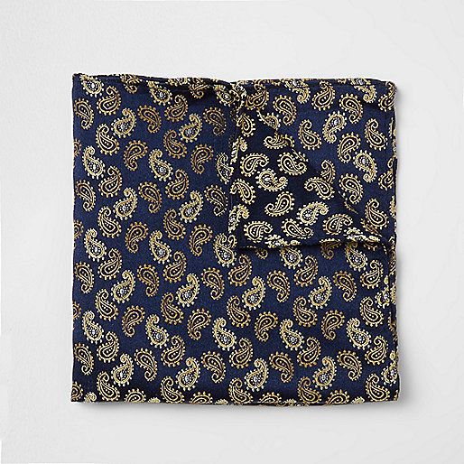 Navy and gold paisley print pocket square