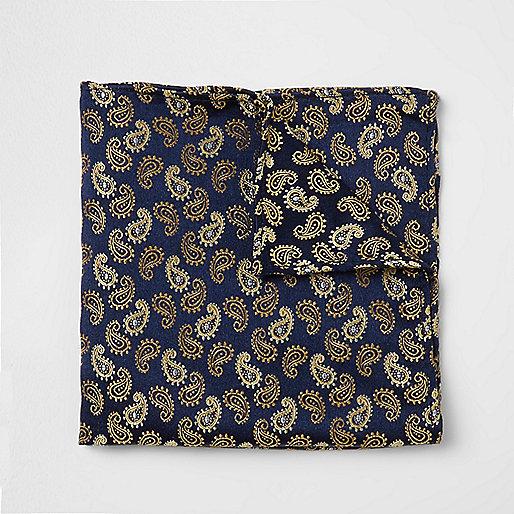 Pochette imprimé cachemire bleu marine et dorée