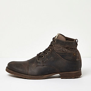 Brown leather textile panel worker boots