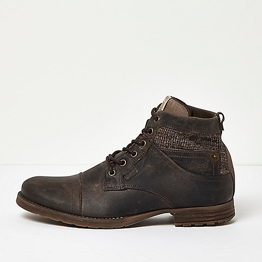 Brown leather textile panel work boots
