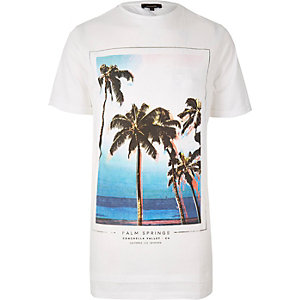 White palm tree print longline t-shirt