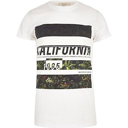 Weißes T-Shirt mit California-Muster