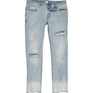 Light blue skinny bleach jeans