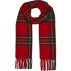 Red check plaid scarf