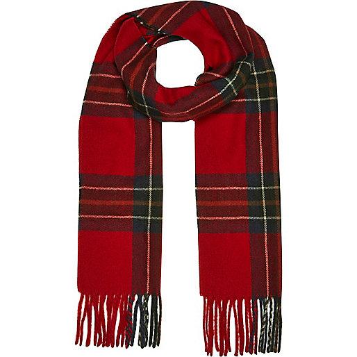 Écharpe motif écossais rouge