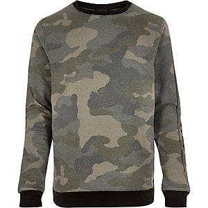 Green camouflage print sweatshirt