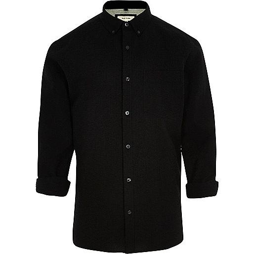 Chemise en crépon de coton noire