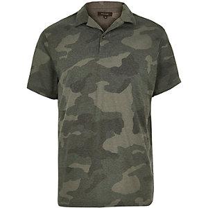 Khaki camouflage print polo shirt