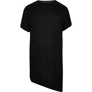 Black longline asymmetric T-shirt