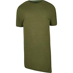 Khaki longline asymmetric T-shirt