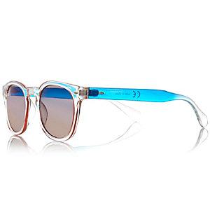 Blue ombré clear retro sunglasses