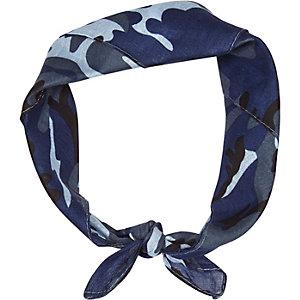 Blue camouflage print bandana