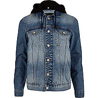 Mid blue wash hooded denim jacket