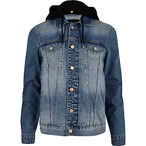 Mid blue wash hooded denim jacket