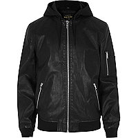 Black leather look hooded jacket