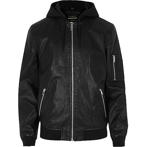 Black leather look hooded jacket