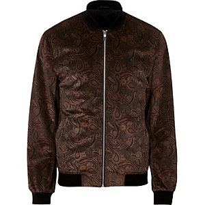 Brown paisley print bomber jacket