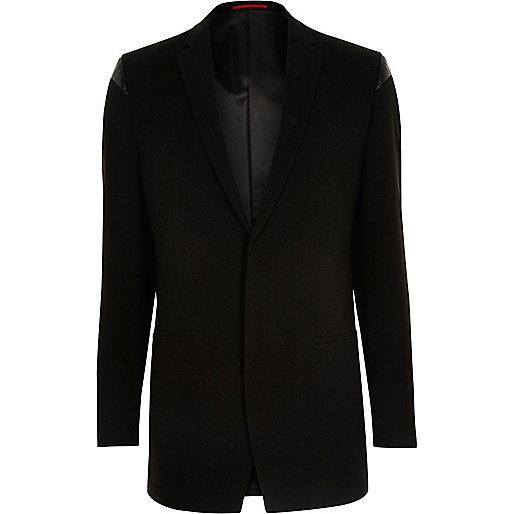 Black leather look panel slim fit blazer